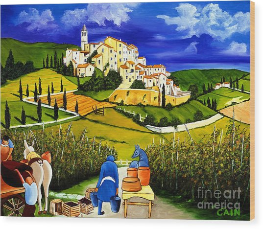 Harvest The Grapes Wood Print