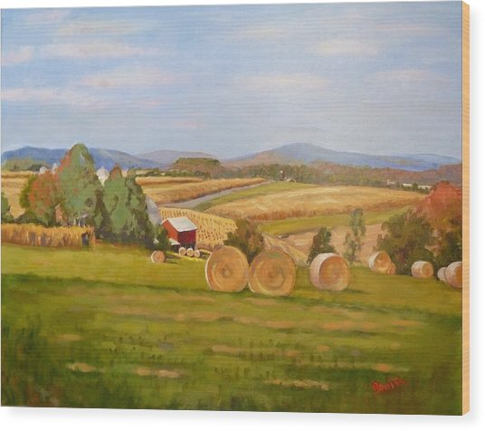 Harvest Time On Berger Hill Wood Print