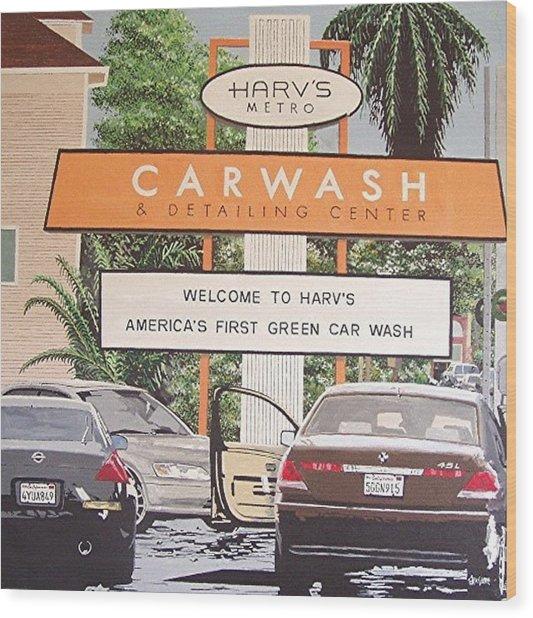 Harv's Car Wash Wood Print by Paul Guyer