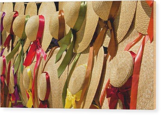 Hats Galore Wood Print by Kathi Isserman