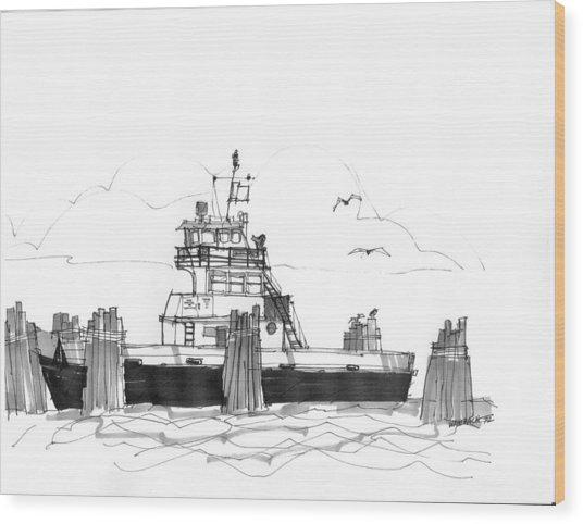 Hatteras Ferry Wood Print
