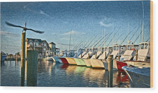 Hatteras Harbor Marina Wood Print by Williams-Cairns Photography LLC
