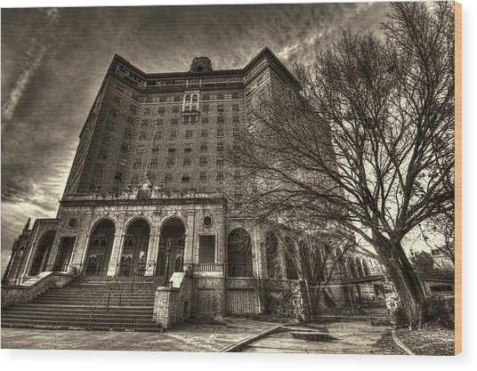Haunted Baker Hotel Wood Print