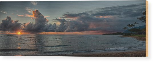Hauula Sunrise Panorama Wood Print