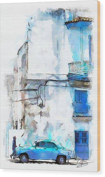 Havana Street Wood Print