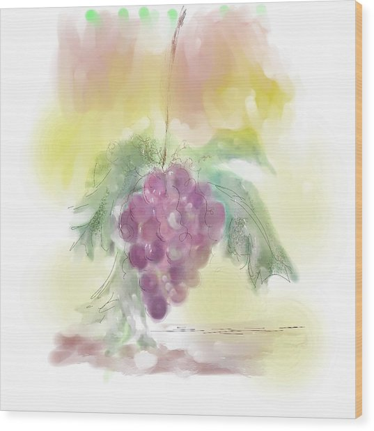 Have A Grape Day Wood Print by Peggy Bosse