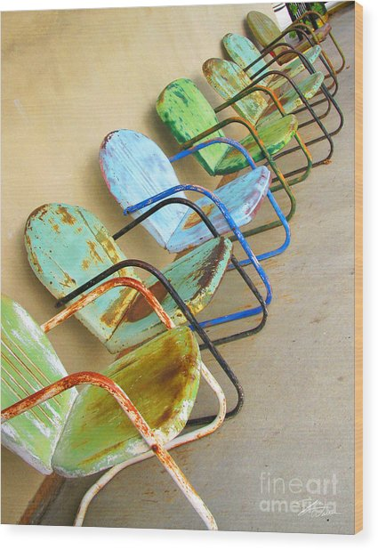 Have A Seat Rusty Chairs Wood Print