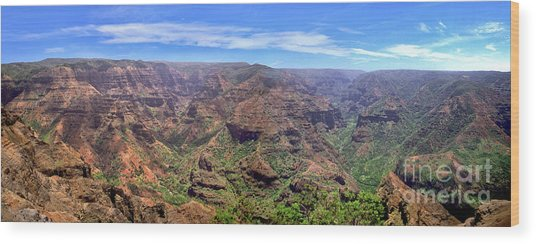 Hawaii Kauai Waimea Canyon Beautiful Panorama Wood Print