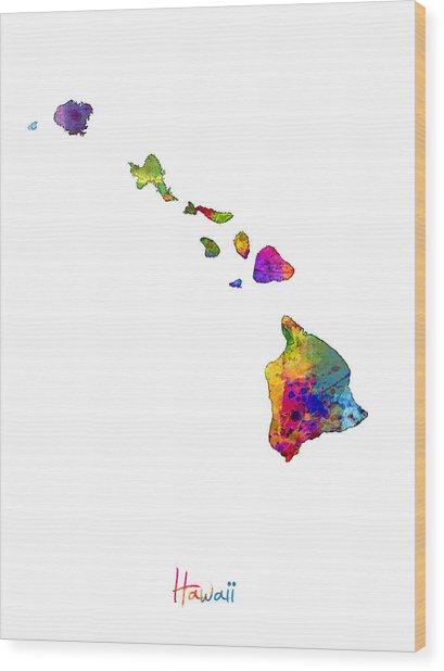 Hawaii Map Wood Print