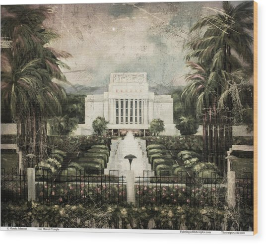Hawaii Temple Laie Antique Wood Print