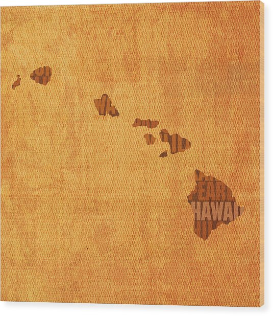 Hawaii Word Art State Map On Canvas Wood Print