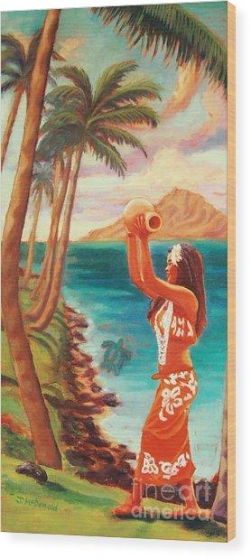Hawaiian Hula Wahine Wood Print