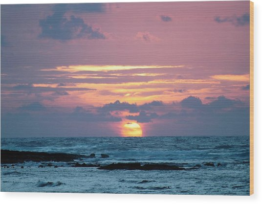 Hawaiian Ocean Sunrise Wood Print