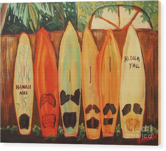 Hawaiian Surfboards Wood Print