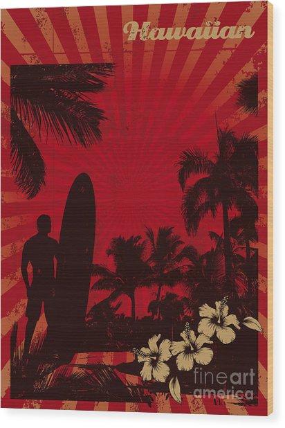 Hawaiian Vintage Surf Poster Wood Print