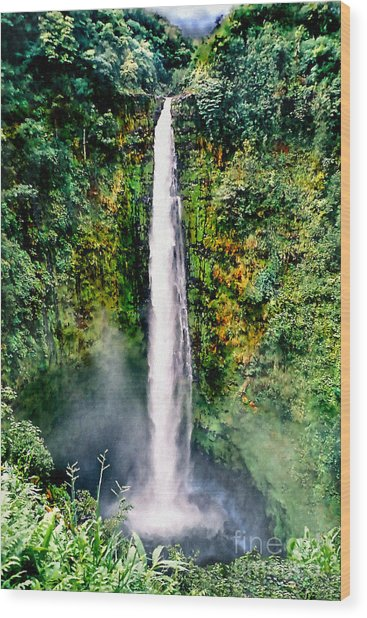 Hawaiian Waterfall Wood Print