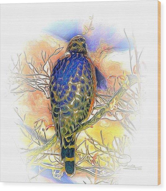 Hawk 2 Wood Print