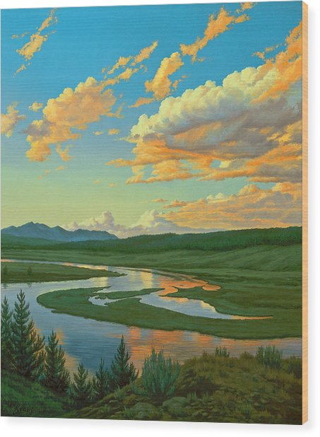 Hayden Valley Sunset Wood Print