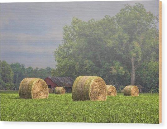 Hay's A Waitin' Wood Print
