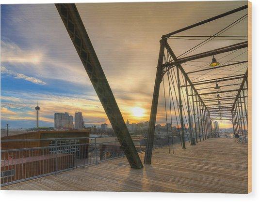 Hays Street Bridge At Sunset Wood Print