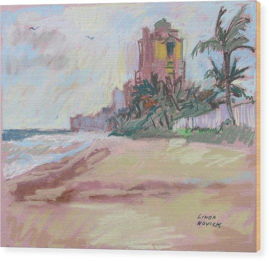 Hazy Beach Wood Print