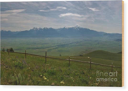 Hazy Day Over The Flathead Valley Wood Print by Charles Kozierok