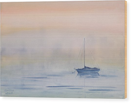 Hazy Day Watercolor Painting Wood Print