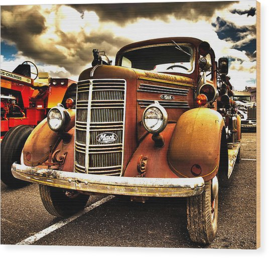 Hdr Fire Truck Wood Print
