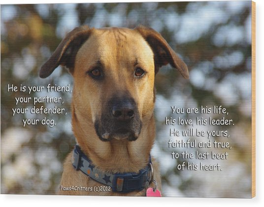 He Is Your Friend You Are His Life Wood Print