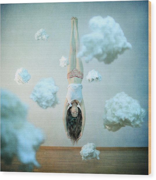 Head In The Clouds Wood Print by Anka Zhuravleva