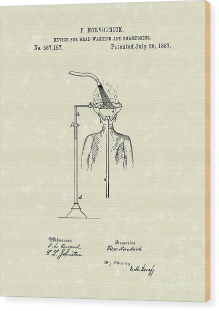 Head Washer 1887 Patent Art Wood Print by Prior Art Design