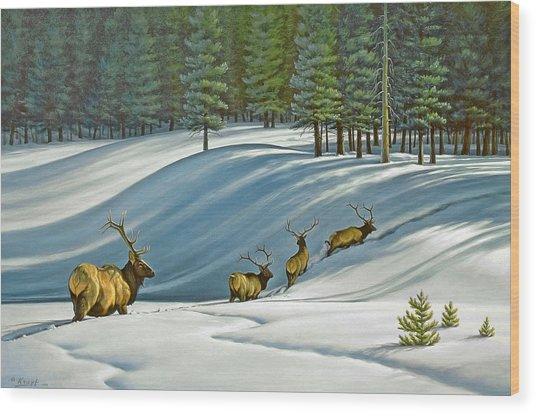 Heading For Timber - Elk Wood Print