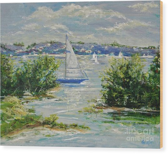 Heading Out Of The Harbor Wood Print