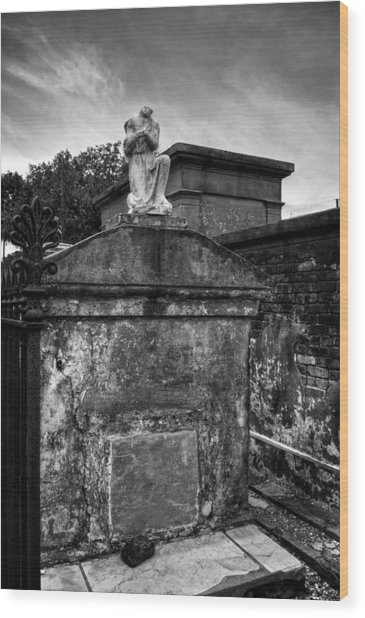 Headless Angel In Black And White Wood Print