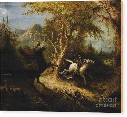 Headless Horseman Pursuing Ichabod Crane Wood Print