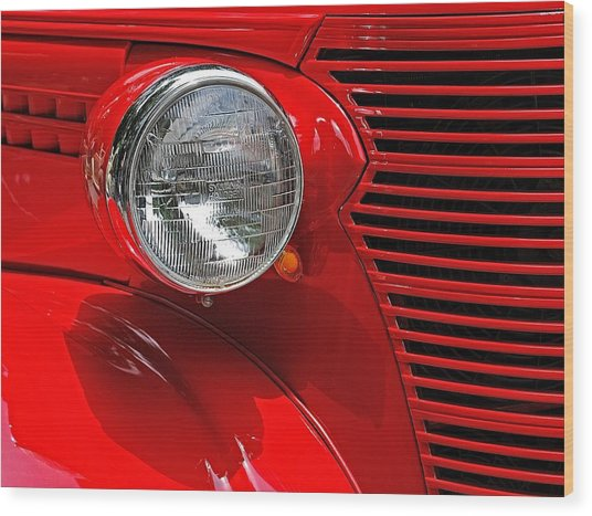 Headlight On Red Car Wood Print