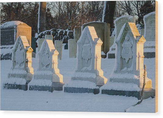 Headstones In Winter 2 Wood Print