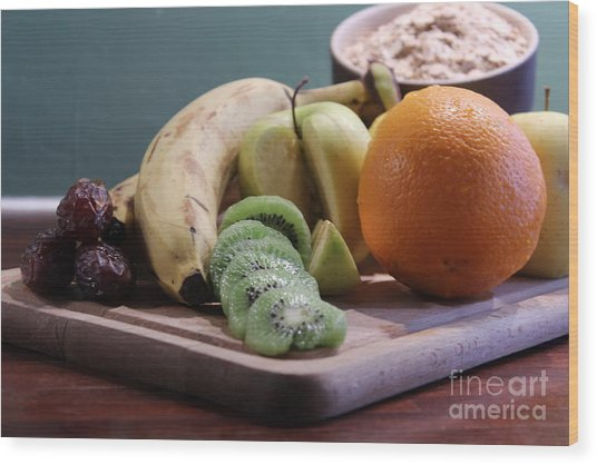 Healthy Breakfast Fruits And Cereals Wood Print
