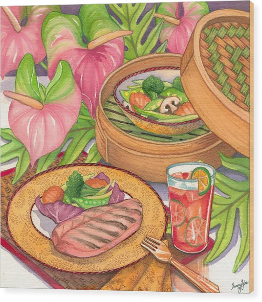 Healthy Dining Wood Print by Tammy Yee