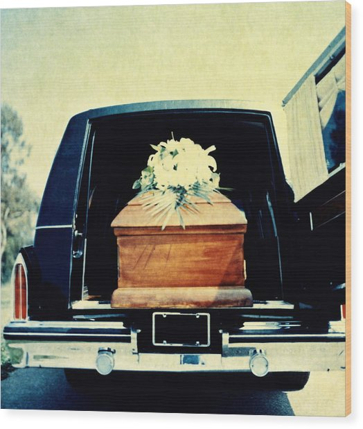 Hearse With Coffin Coming Out Of Back Wood Print by Walter B. McKenzie