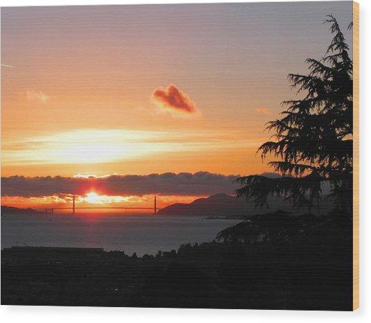 Heart Cloud Over Golden Gate Bridge Wood Print