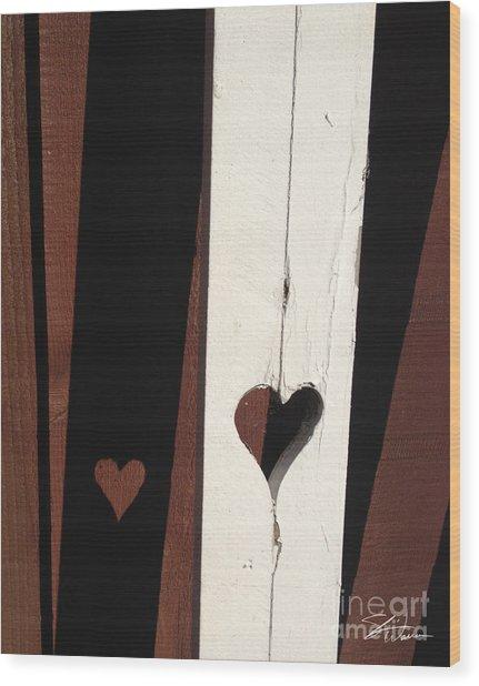 Heart Fence Shadow  Wood Print