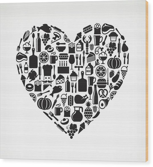 Heart Food & Drink Royalty Free Vector Wood Print by Bubaone