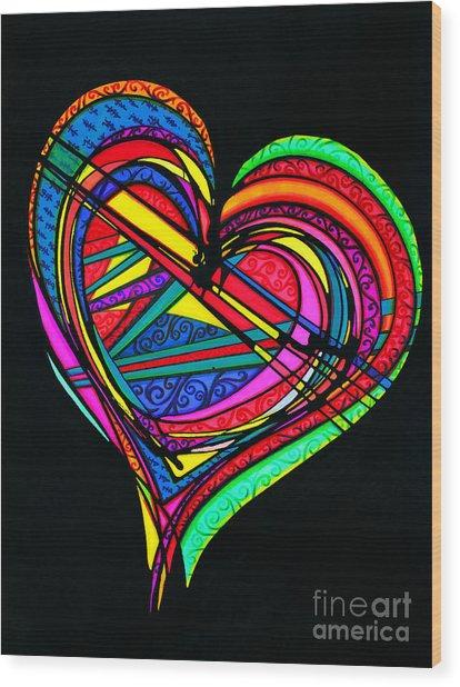 Heart Heart Heart Wood Print