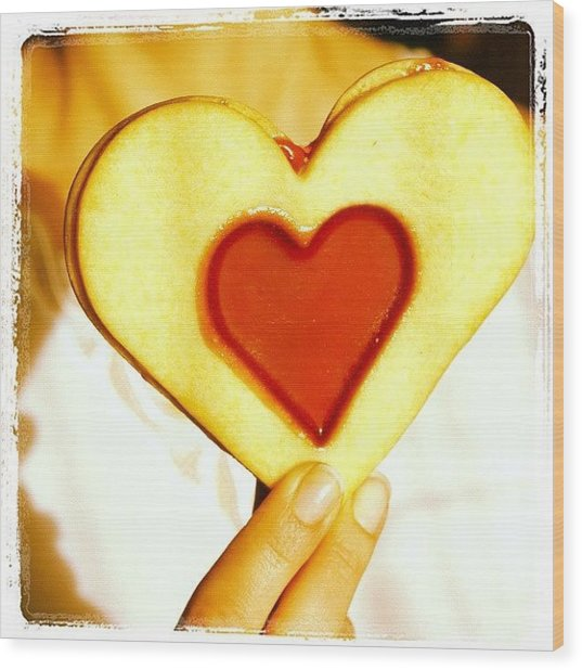 Heart Love Cookie Wood Print