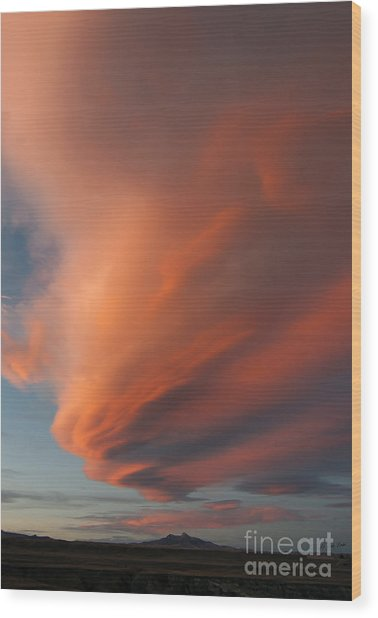 Heart Mountain Cirrus Sunset-signed Wood Print