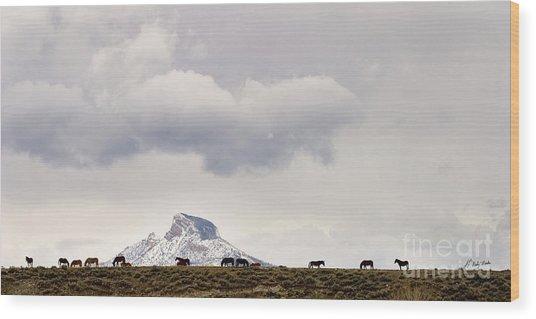 Heart Mountain Horses Wood Print