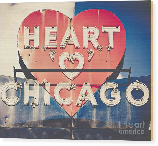 Heart Of Chicago Wood Print