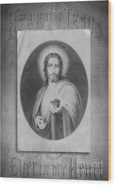 Heart Of Jesus Wood Print