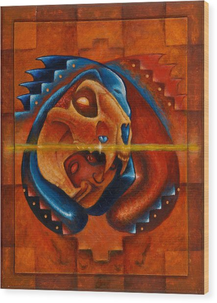 Heart Of The Jaguar Priest Wood Print
